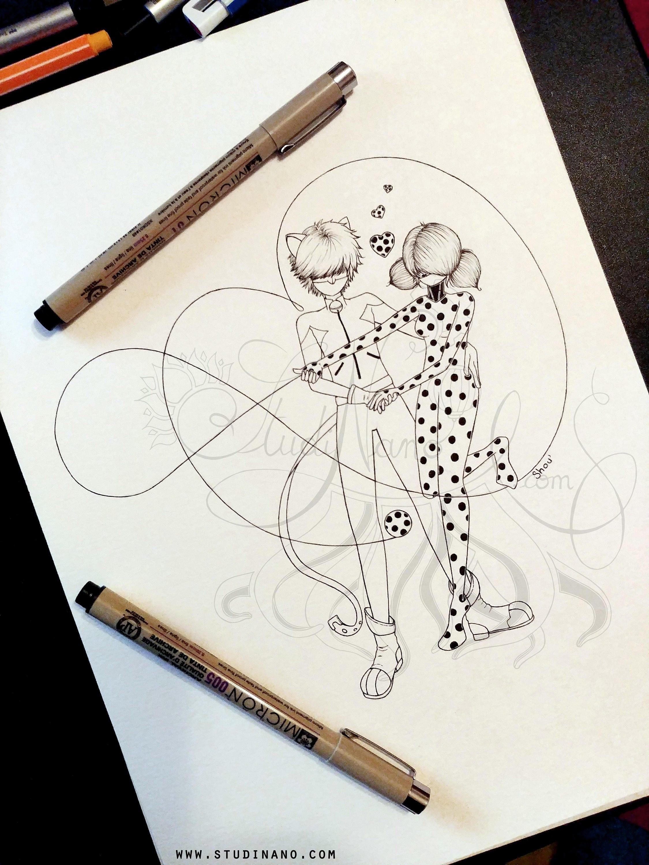 Coloriage ladybug et chat noir line art illustration - Dessin a colorier ladybug et chat noir ...