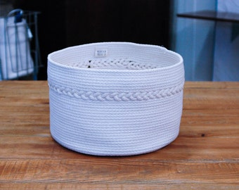 White Coiled Rope Basket with Braid Detail