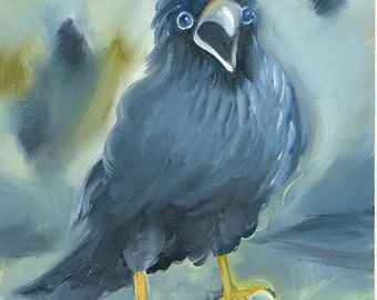 """BABY RAVEN """"Can I have some more?""""  Original Oil Painting by Amy Hautman"""