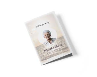 8-seitigen Booklet Beerdigung Programm bearbeitbaren mit