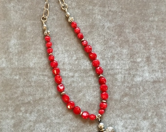 Red coral necklace with handmade sterling silver heart