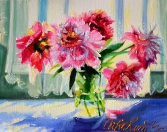 ART PRINT of TUINBLOMME, beautiful bright still life, garden flowers, pink and purple, kitchen art, mason jar