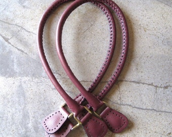 Handmade Genuine Leather Purse Bag Handles Cranberry Red with Antique Brass D-rings