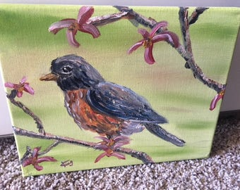 Bird Painting--Original Oil Painting of a Robin