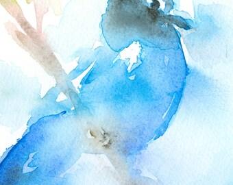 Bird Art Print/ Bird Art/ Blue Bird Watercolor Painting/ Blue Jay watercolor/ songbird art/ painting/ art/ watercolor art/ wall decor