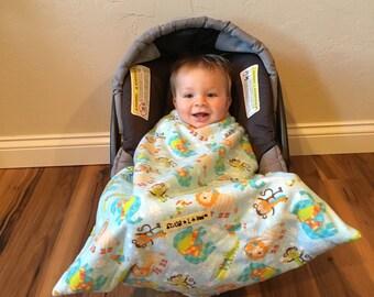 Car seat blanket, infant seat blanket, The Winter Animal Snug L Bee, baby carrier blanket, travel blanket, winter travel, baby gift, baby