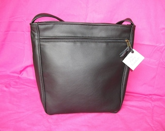 Black leather purse-Large Leather shoulder bag for women-Large Black Leather Purse for Women-Rita style-made in USA- other colors available
