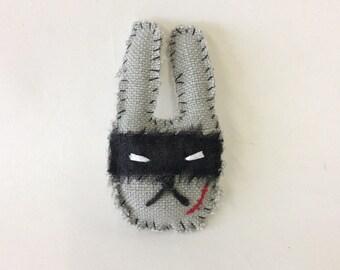 rabbit textile brooch - bad bunny brooch