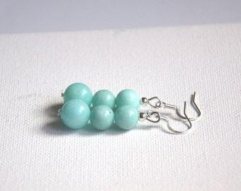 Aquamarine dangle drop earrings Valentine gift for her Gemstone stone blue earrings Round Beads beaded earrings jewelry jewellery