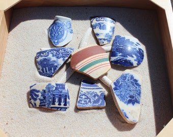 Sea Glass Pottery Group - 8 Pieces