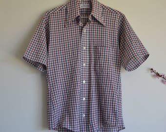1970s 1980s Retro Mens plaid shirt - Vintage check mens 50s style button up shirt - Size S