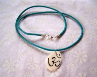 Om Symbol Pendant with Turquoise Leather Necklace