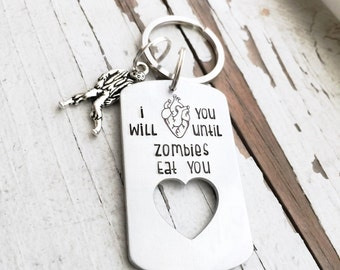 Hand stamped ANATOMICAL HEART i will love you until zombies eat you your brains turn you get you zombie love zombie heart shop exclusive