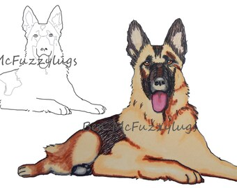 Digital Stamp.(Digi stamp)  German Shepherd Dog (Alsation Dog) stamp. Cardmaking. Craft Supplies, Instant download.dog art. Fuzzylug Stamp