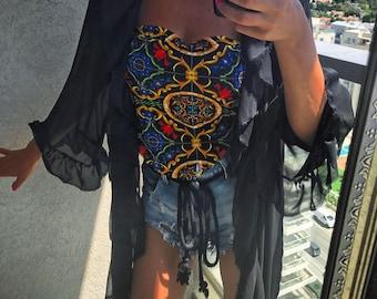 Ruffles Kimono, Light crep chiffon , black Color, Sheer Kimono, Sheer , Ruffles ,Boho, Bohemian, Women Kimono Dress, Kimono