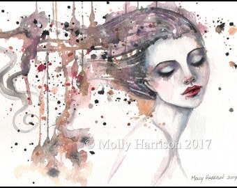 Content - Contemporary Portrait of Woman - Watercolor Giclee Fantasy Art Print by Molly Harrison - Fine Art Print 9 x 12