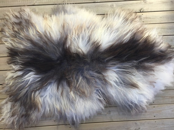 Real natural Sheepskin rug supersoft rugged throw from Norwegian norse breed long haired sheep skin grey black 18069