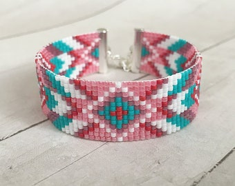 Native style Loom bracelet Loom beaded cuff Bead loom bracelet Ethnic bracelet Seed bead bracelet Adjustable bracelet Beaded wrist band