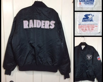 1980's Black Pro Line Starter Jacket size XL Oakland Raiders NFL football sports team satin quilted bomber made in USA