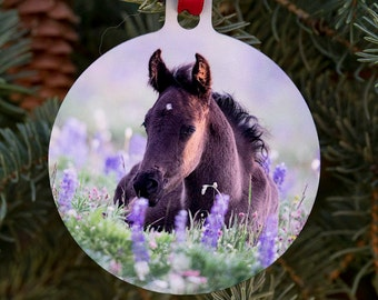 Holiday Horse Ornament - Filly in the Lupine - Wild Horse Fine Art Photograph - Wild Horse - Christmas - Ornament