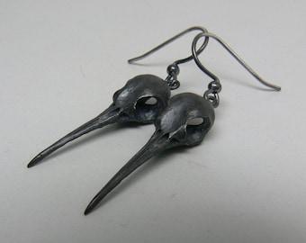 Hummingbird Skull Earrings, Sterling Silver