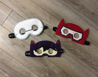 Big Hero 6 Inspired Masks Kids Masks Kids Costume Baymax Mask Hiro Mask Kids Masks Halloween Masks Halloween Costume Prentend Play
