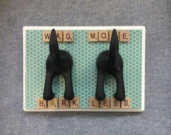 Double Dog Leash Hook, Leash Hanger, Wag More Bark Less