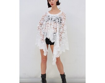 Vintage - Original - 70s - FESTIVAL - White - Crochet - Lace - Drape - Sides - Poncho - Cape - One Size Fits All - XS S M L XL