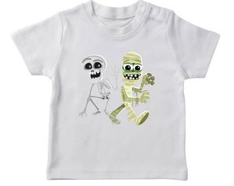 Halloween Cute Skeleton And Mummy Cartoon Boy's White T-shirt