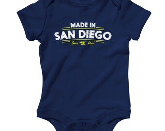 Baby Made in San Diego V2 Romper - Infant One Piece - NB 6m 12m 18m 24m - San Diego Baby, California Baby, SD - 2 Colors