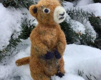 Needle Felted Marmot Figurine -- Handmade Toy -- Soft Sculpture -- Felted Animal