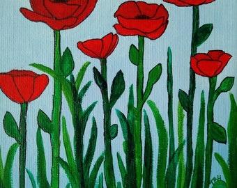 Petite Poppy Painting, Acrylic on canvas