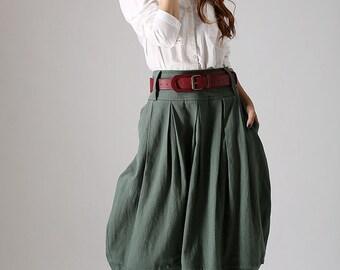 lagenlook skirt, midi skirt, pleated skirt, linen skirt, bubble skirt, green skirt, casual skirt, womens skirts, custom made skirt  (870)