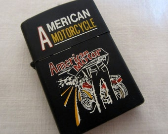 Vintage Lighter American Motorcycle Black with Graphics Metal Lighter 1990s Unused NOS