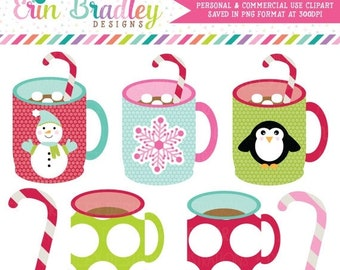 80% OFF SALE Holiday Mugs Clipart Clip Art Personal & Commercial Use Instant Download
