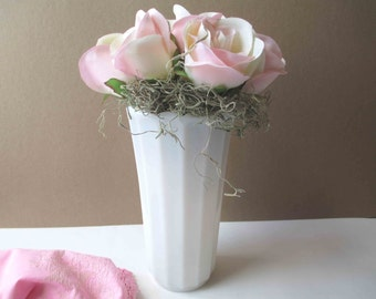Vintage Milk Glass Ribbed Vase Tall Classic