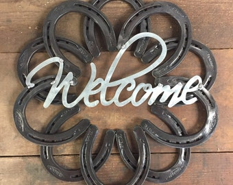 Horseshoe Art, Horseshoe Welcome Wreath, Western Wall Hanging Decor