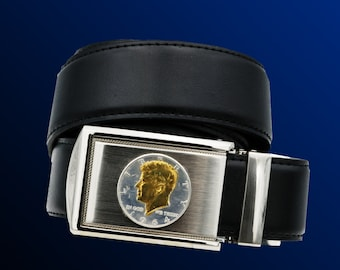 Ratchet buckle and belt with Kennedy 1/2 dollar coin. 90% silver, 24 karat gold plated.