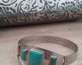 German-Silver bangle bracelet with turquoise cabochons OOAK Handmade, Made in Greece