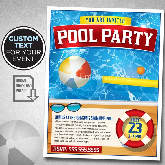Swimming Pool Party Invitation Template Custom Digital Download from ...