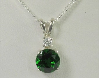 Chrome Diopside 7mm 1.60ct Sterling Silver Gemstone Necklace Natural Untreated