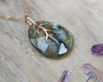 labradorite rose gold necklace /// gemstone layering necklace with aqua blue labradorite and rose gold branch /// OOAK