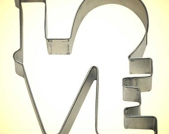 "LOVE cookie cutter,  wedding cookie cutter, Valentines Day cookie cutter, L O V E 4.5"" tall"