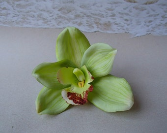 Green Orchid Flower Hair Clip -  Hawaiian Beach Wedding Alligator Hair Clip Accessory - Hairclip Pin Hairpin Mermaid