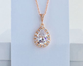Rose Gold Cubic Zirconia Necklace Rose Gold Teardrop Bridal Necklace Rose Gold Crystal Teardrop Pendant Rose Gold Crystal Wedding Jewelry