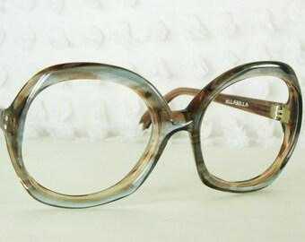 1970's Oversize Eyeglasses Round Brown Cornflower Blue Horn Rim 52/20 NOS Designer Optical Lozza Ellabella Frame