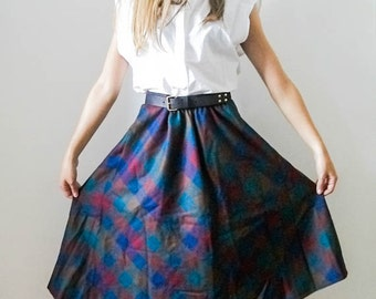 Vintage 70s colourful high waist gingham skirt size S M