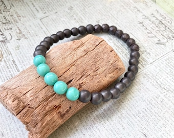 charcoal gray beaded bracelet, layering stretch bracelet, mint teal beaded, hematite mint bracelet, simple jewelry, momosea jewelry handmade