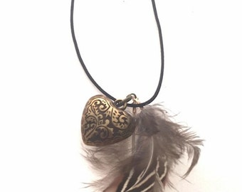 Necklaces heart wing natural wings long boho necklace