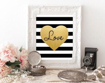 Printable Love Art, Gold Foil Love Art, Black Stripes, Love Wall Art, Digital Love Prints, Instant Download
